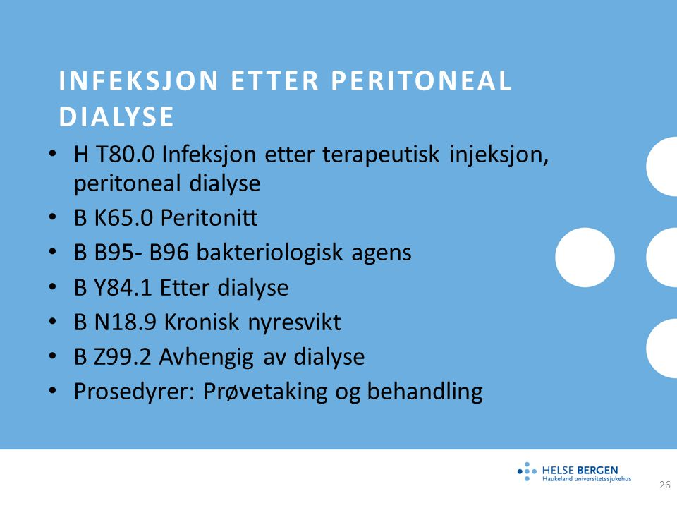 Infeksjon etter peritoneal dialyse