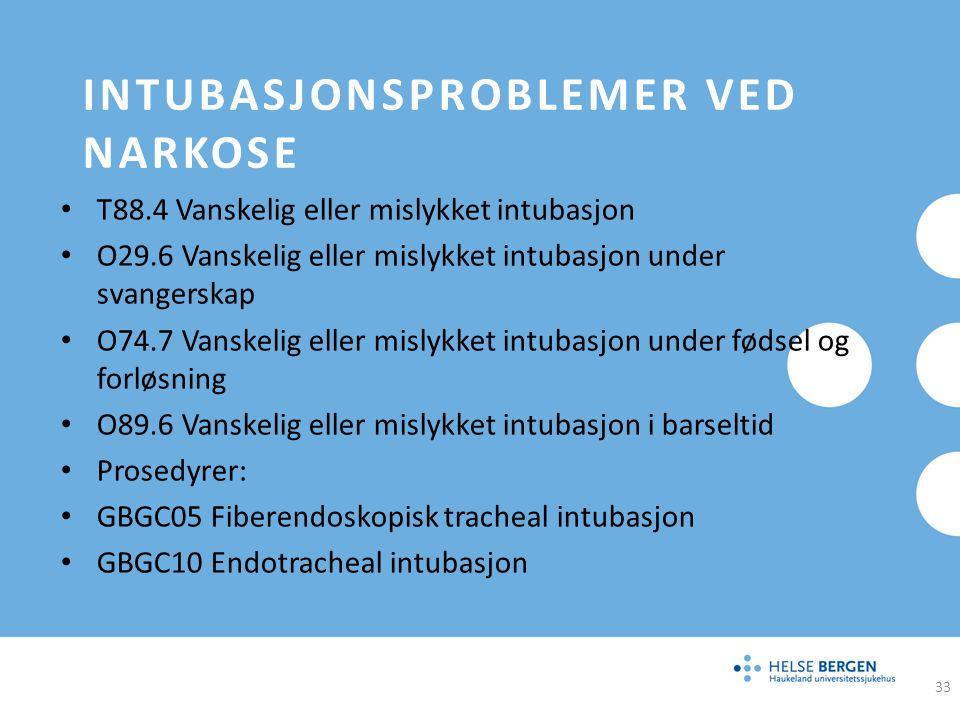 Intubasjonsproblemer ved narkose