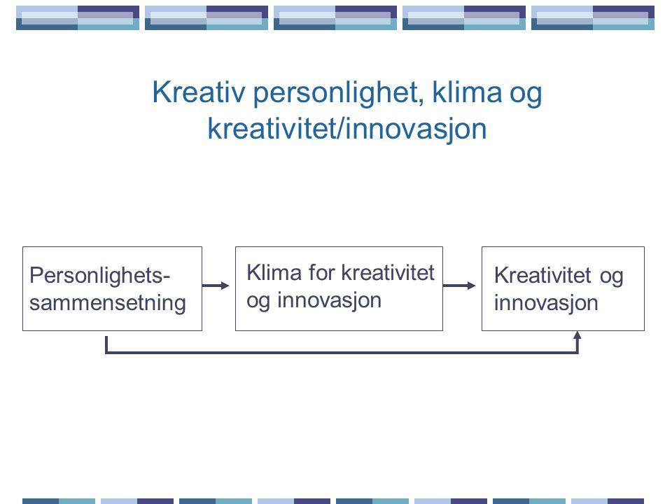 Kreativ personlighet, klima og kreativitet/innovasjon