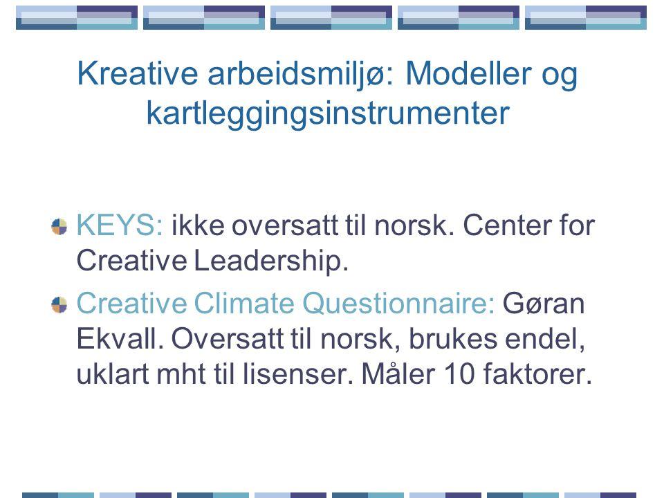 Kreative arbeidsmiljø: Modeller og kartleggingsinstrumenter