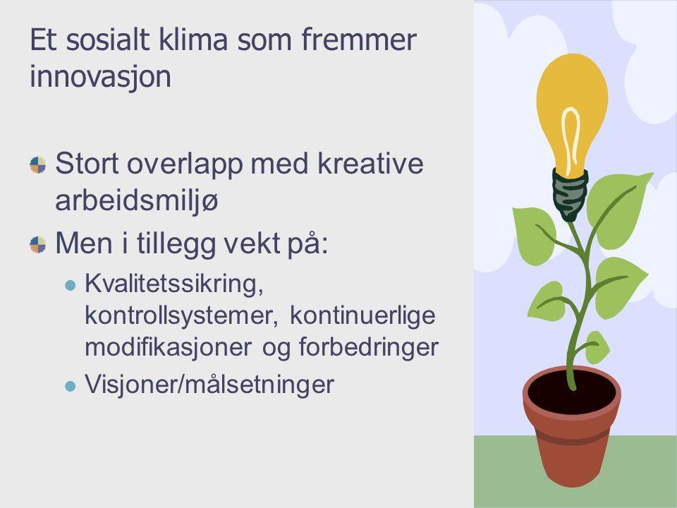 Et sosialt klima som fremmer innovasjon
