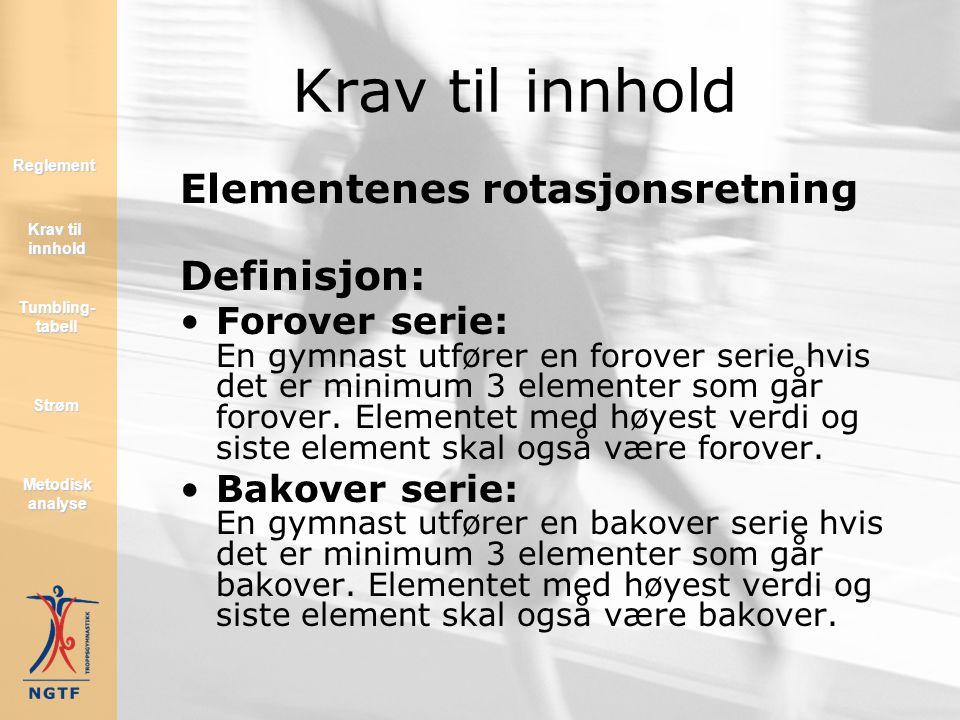 Krav til innhold Elementenes rotasjonsretning Definisjon: