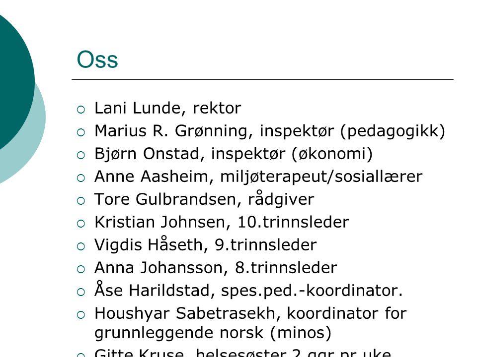 Oss Lani Lunde, rektor Marius R. Grønning, inspektør (pedagogikk)
