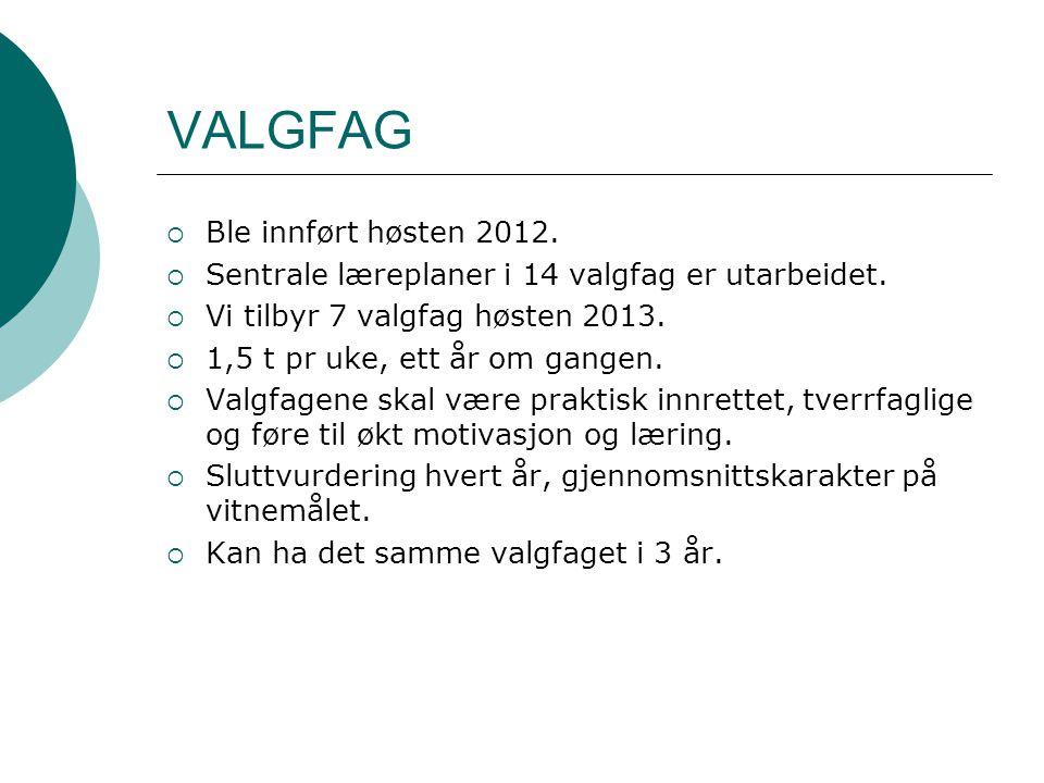 VALGFAG Ble innført høsten 2012.