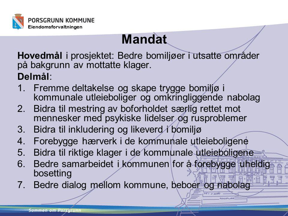 Mandat Hovedmål i prosjektet: Bedre bomiljøer i utsatte områder på bakgrunn av mottatte klager. Delmål:
