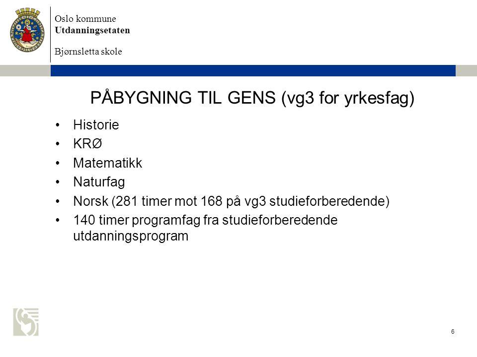 PÅBYGNING TIL GENS (vg3 for yrkesfag)