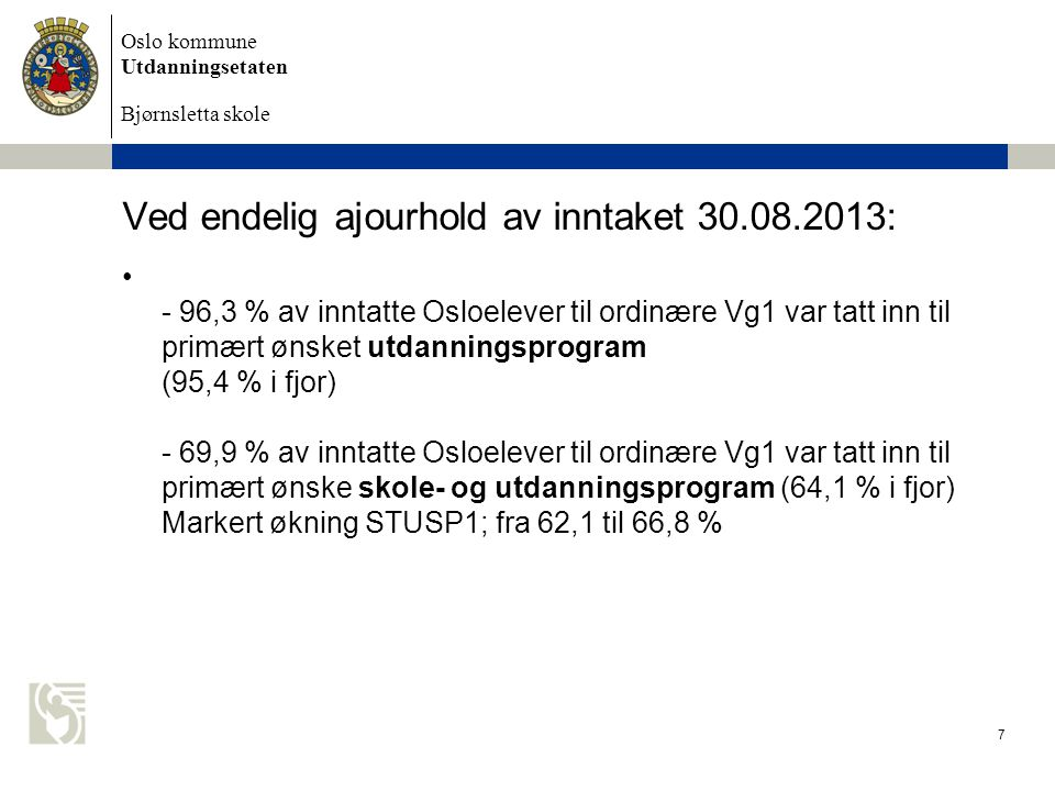 Ved endelig ajourhold av inntaket 30.08.2013:
