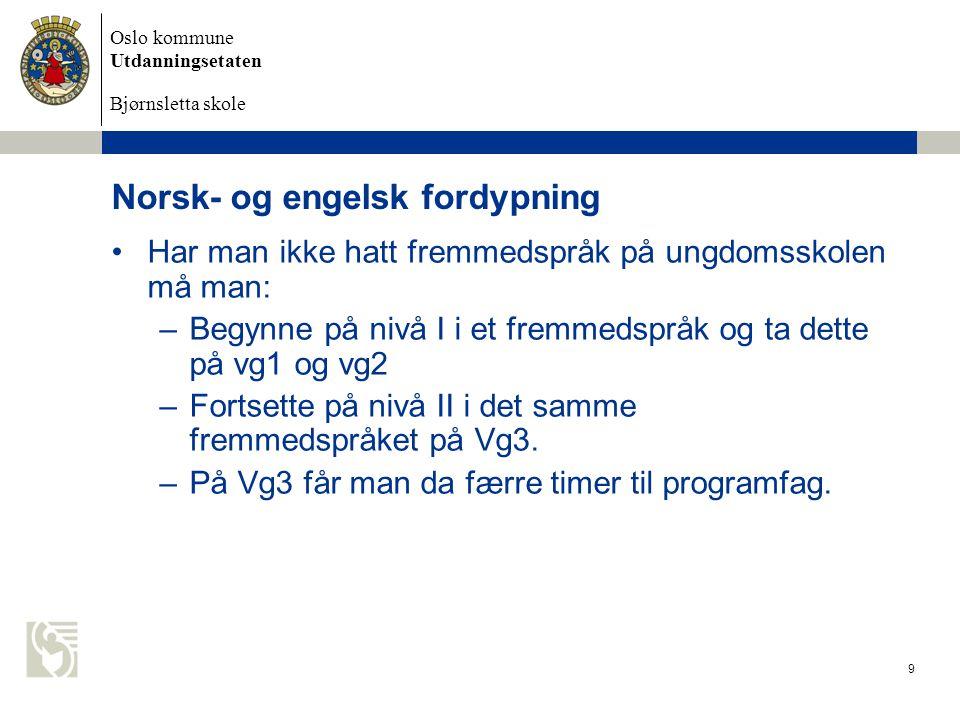 Norsk- og engelsk fordypning