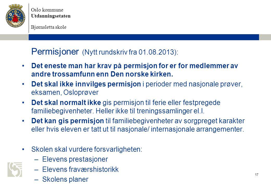 Permisjoner (Nytt rundskriv fra 01.08.2013):