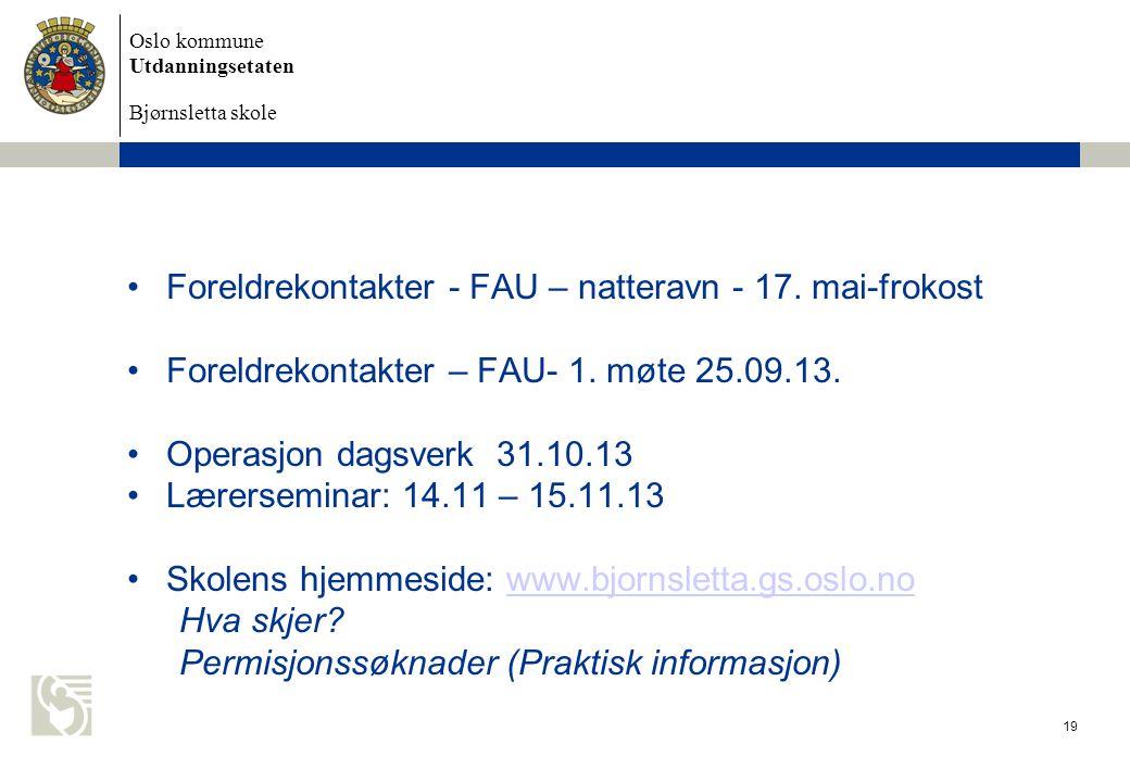 Foreldrekontakter - FAU – natteravn - 17. mai-frokost