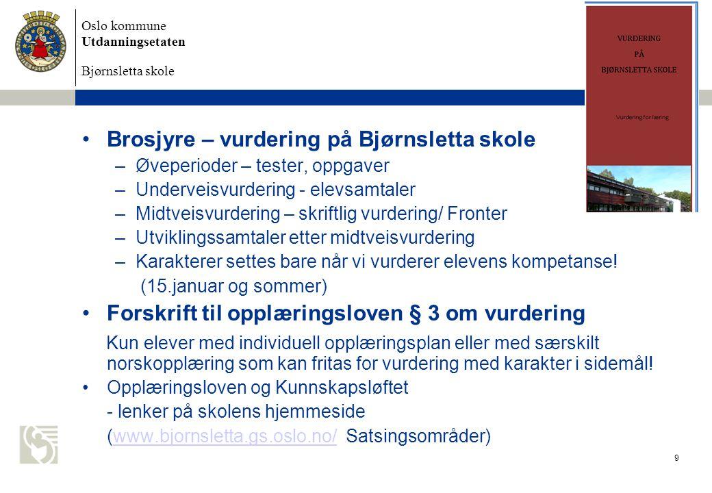 Brosjyre – vurdering på Bjørnsletta skole