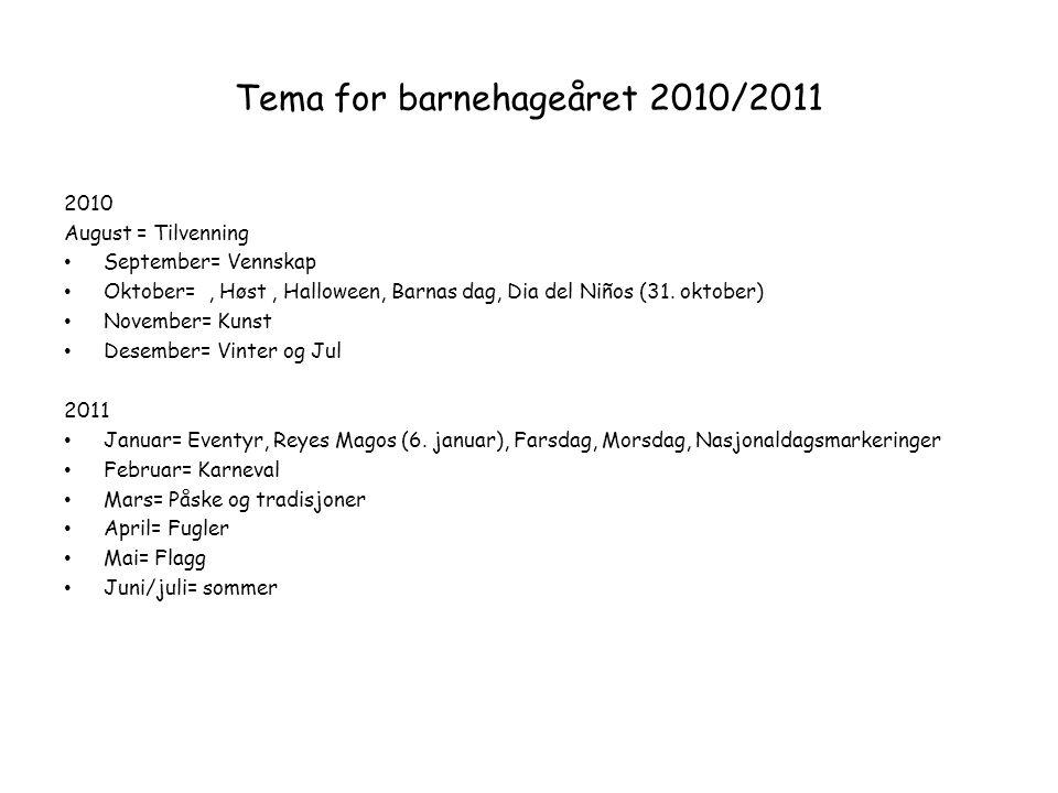 Tema for barnehageåret 2010/2011