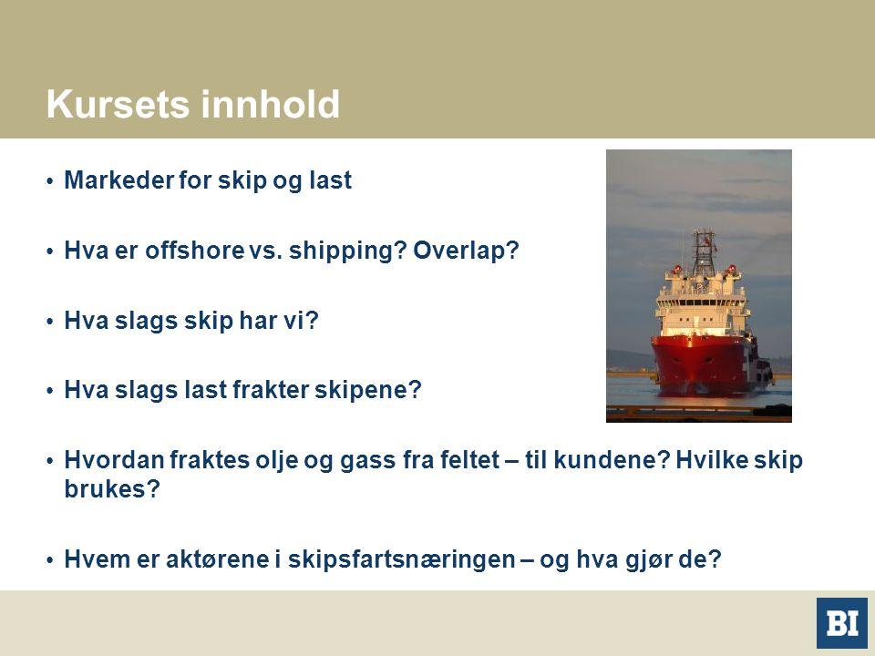 Kursets innhold Markeder for skip og last