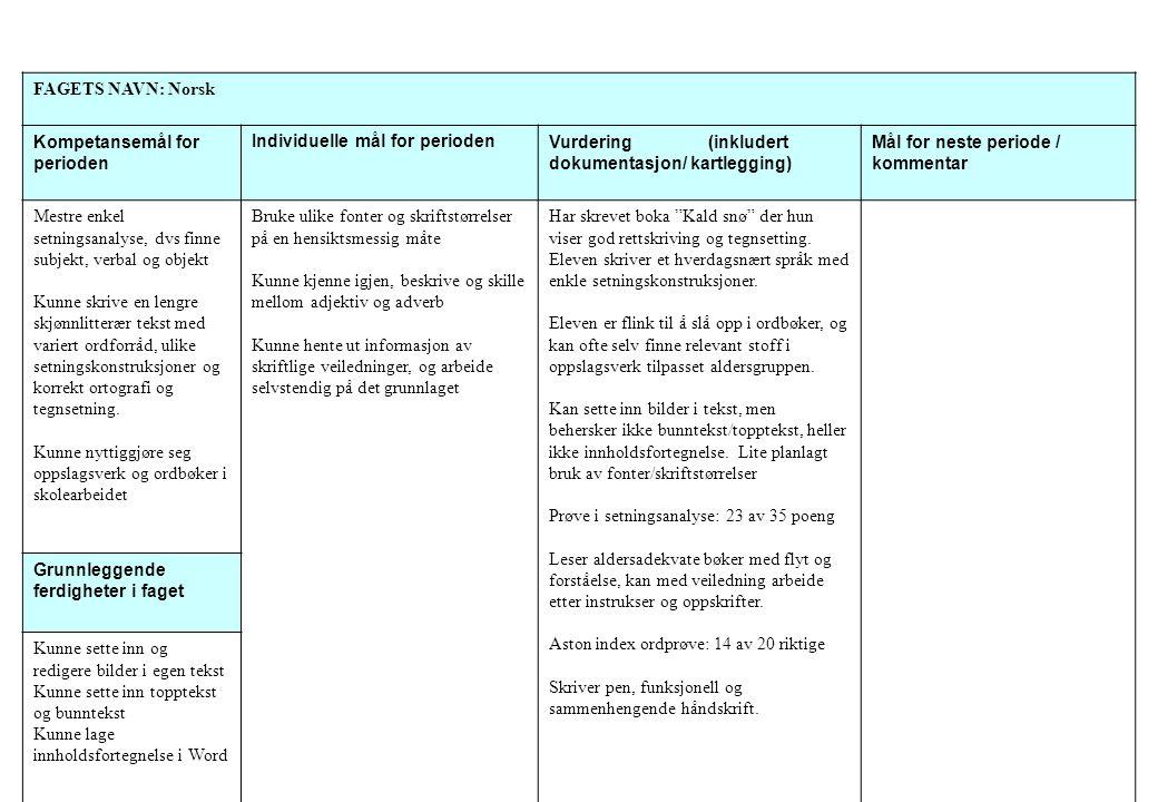 FAGETS NAVN: Norsk Kompetansemål for perioden. Individuelle mål for perioden. Vurdering (inkludert dokumentasjon/ kartlegging)