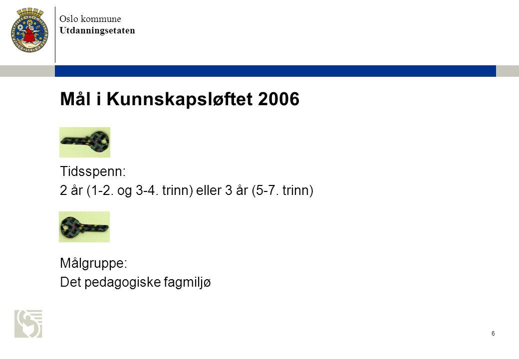 Mål i Kunnskapsløftet 2006 Tidsspenn: 2 år (1-2. og 3-4. trinn) eller 3 år (5-7. trinn) Målgruppe: Det pedagogiske fagmiljø