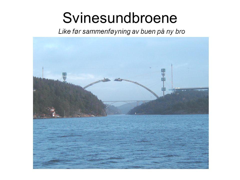 Svinesundbroene Like før sammenføyning av buen på ny bro