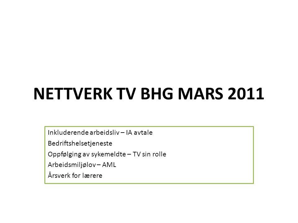 NETTVERK TV BHG MARS 2011 Inkluderende arbeidsliv – IA avtale