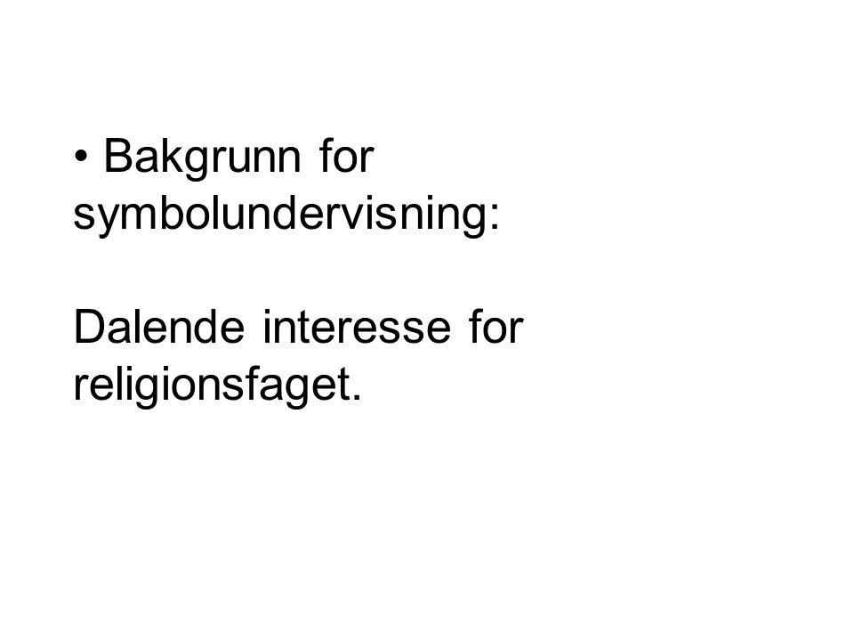 Bakgrunn for symbolundervisning: Dalende interesse for religionsfaget.