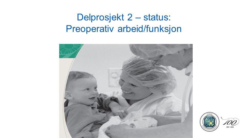 Delprosjekt 2 – status: Preoperativ arbeid/funksjon