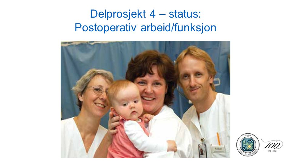 Delprosjekt 4 – status: Postoperativ arbeid/funksjon