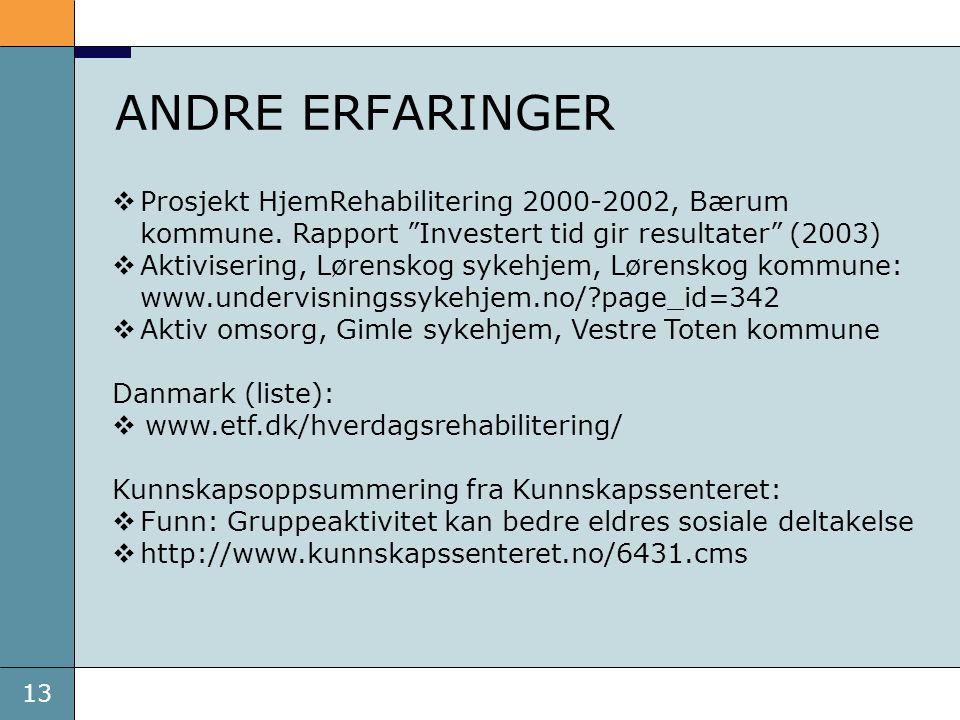 ANDRE ERFARINGER Prosjekt HjemRehabilitering 2000-2002, Bærum kommune. Rapport Investert tid gir resultater (2003)