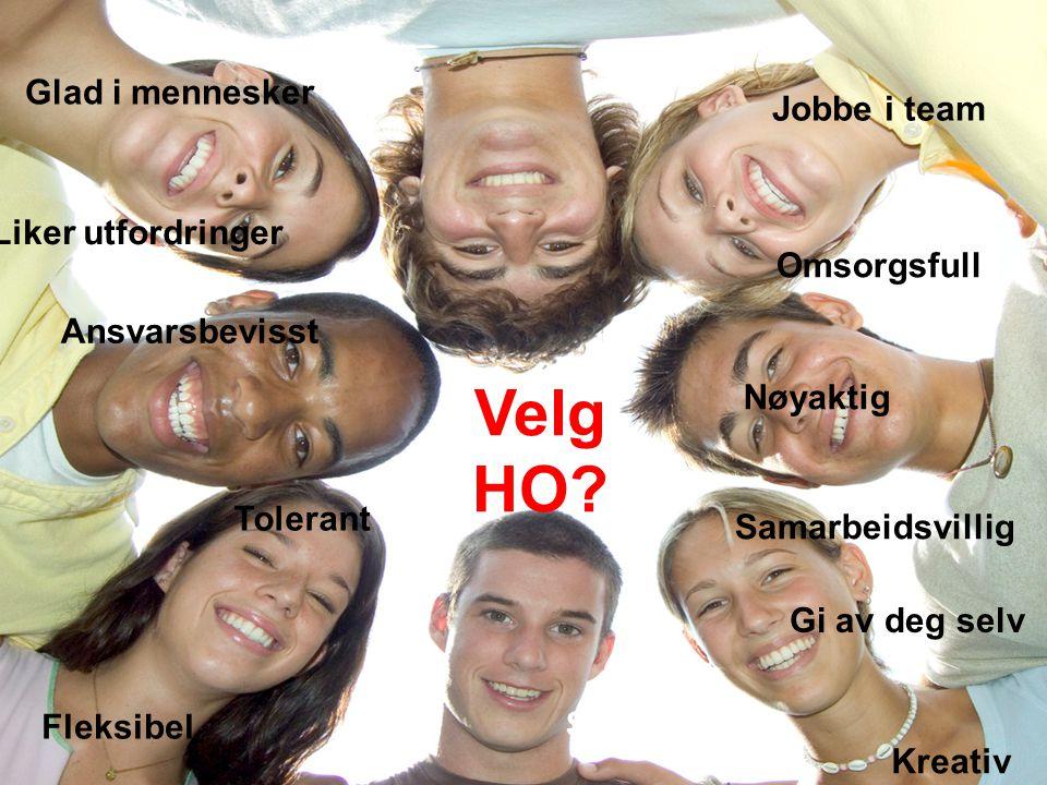 Velg HO Er du / kan du Glad i mennesker Jobbe i team