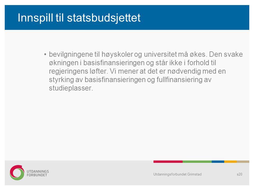 Innspill til statsbudsjettet