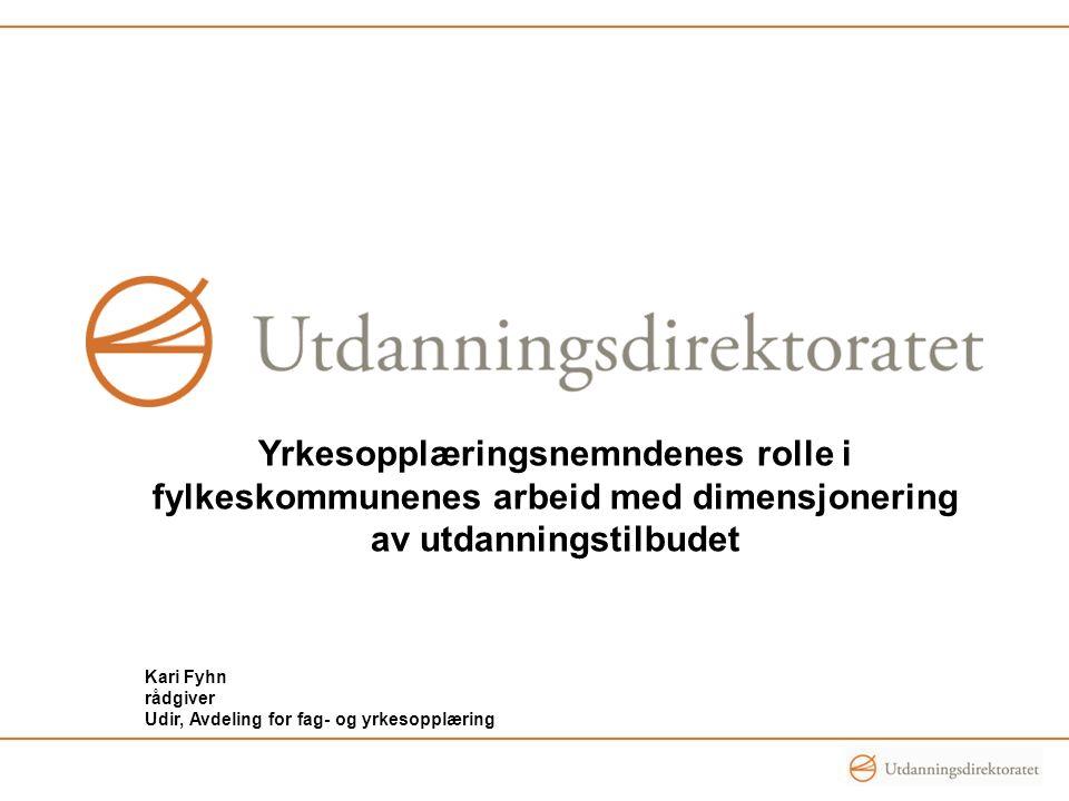 Yrkesopplæringsnemndenes rolle i fylkeskommunenes arbeid med dimensjonering av utdanningstilbudet