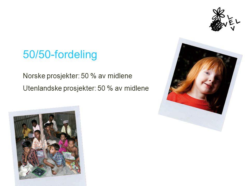50/50-fordeling Norske prosjekter: 50 % av midlene Utenlandske prosjekter: 50 % av midlene