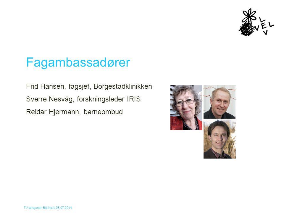 Fagambassadører Frid Hansen, fagsjef, Borgestadklinikken Sverre Nesvåg, forskningsleder IRIS Reidar Hjermann, barneombud