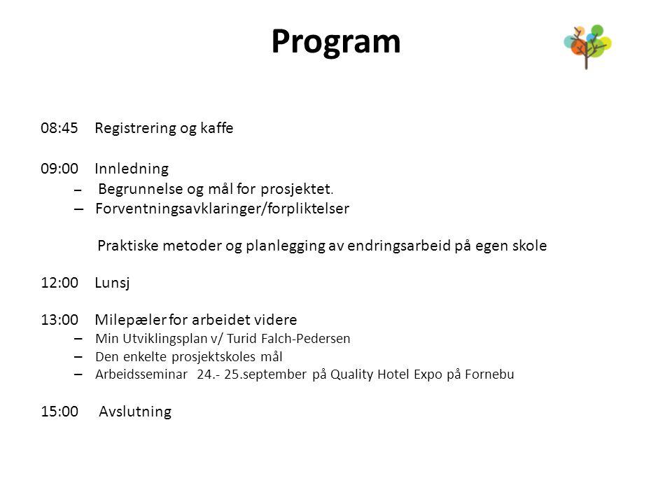 Program 08:45 Registrering og kaffe 09:00 Innledning