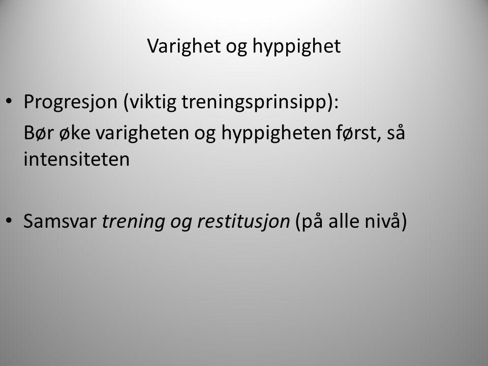 Varighet og hyppighet Progresjon (viktig treningsprinsipp): Bør øke varigheten og hyppigheten først, så intensiteten.