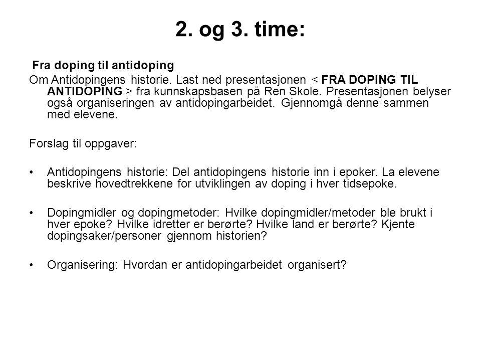 2. og 3. time: Fra doping til antidoping.