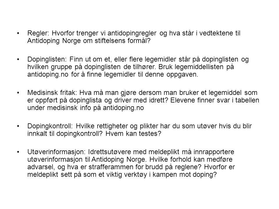 Regler: Hvorfor trenger vi antidopingregler og hva står i vedtektene til Antidoping Norge om stiftelsens formål