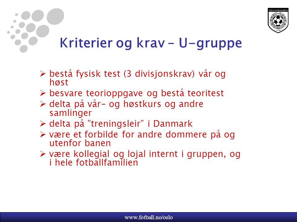Kriterier og krav – U-gruppe
