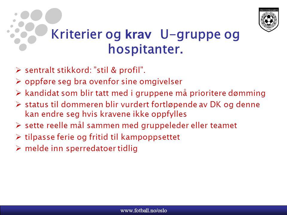 Kriterier og krav U-gruppe og hospitanter.