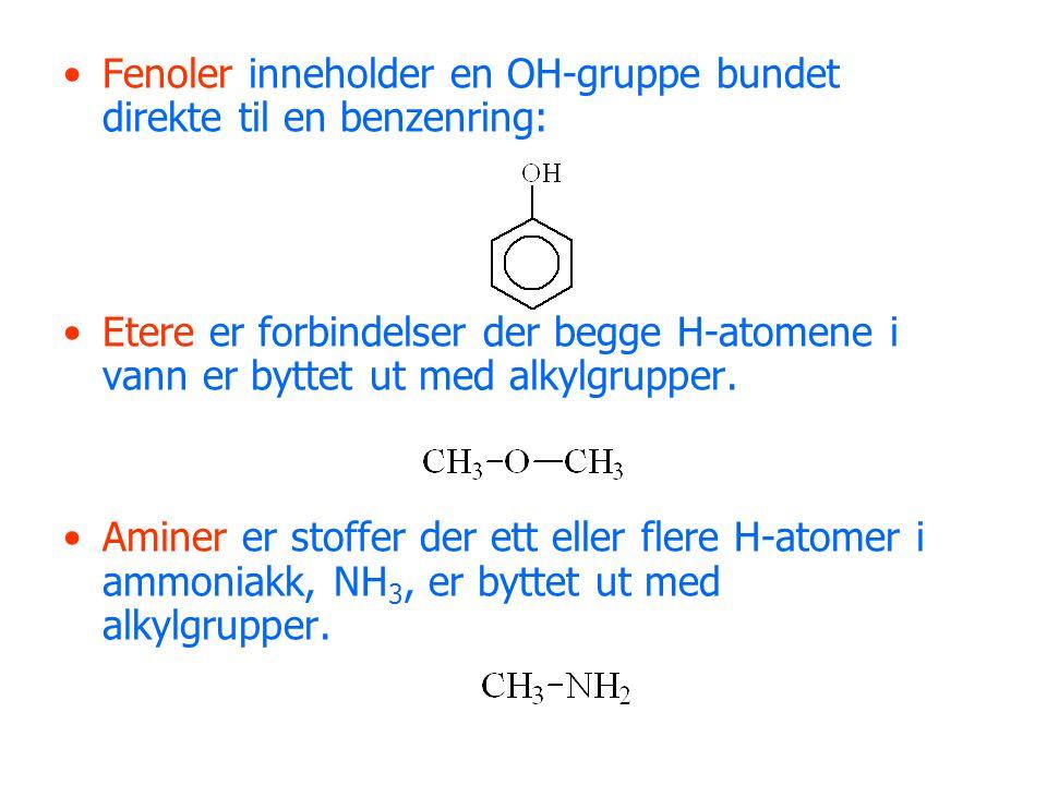 Fenoler inneholder en OH-gruppe bundet direkte til en benzenring: