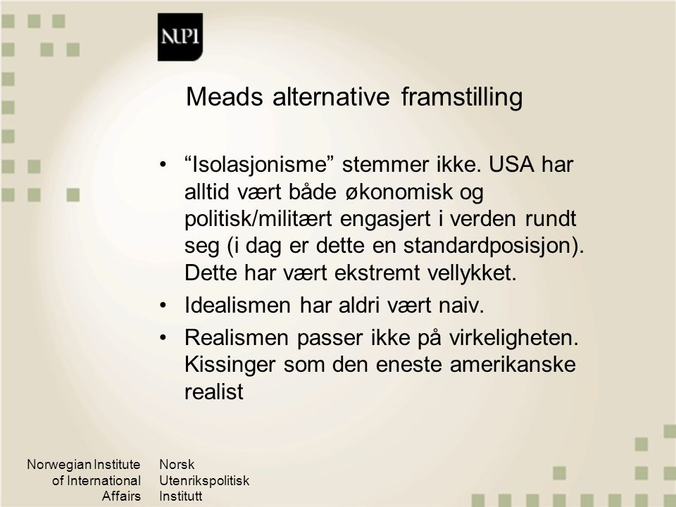 Meads alternative framstilling