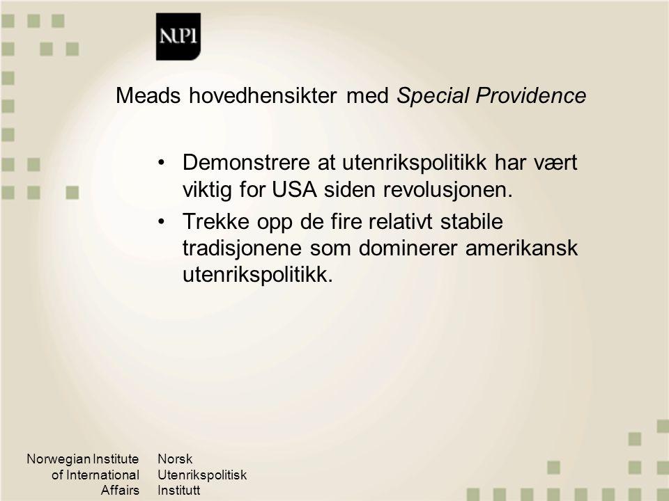 Meads hovedhensikter med Special Providence