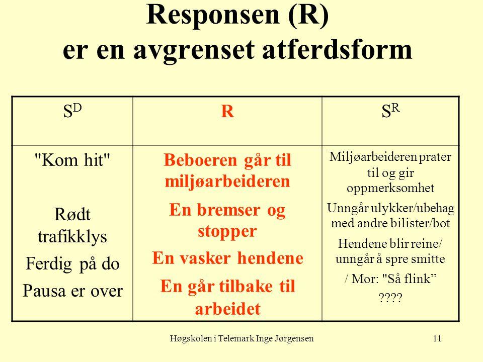 Responsen (R) er en avgrenset atferdsform