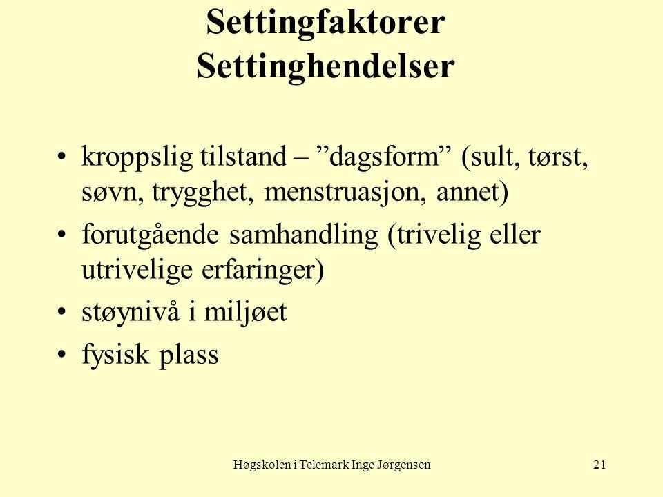 Settingfaktorer Settinghendelser