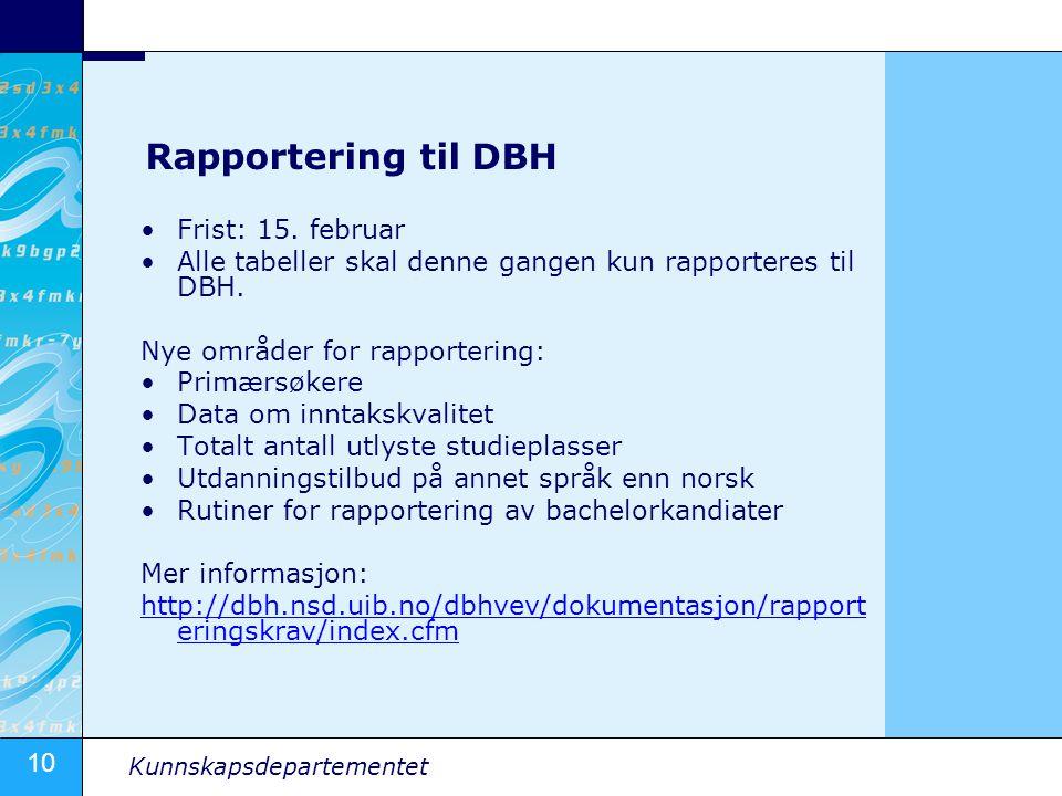 Rapportering til DBH Frist: 15. februar