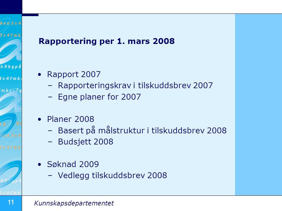 Rapportering per 1. mars 2008 Rapport 2007. Rapporteringskrav i tilskuddsbrev 2007. Egne planer for 2007.