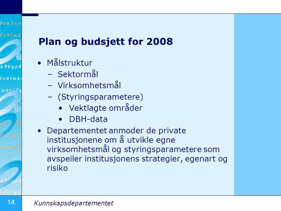 Plan og budsjett for 2008 Målstruktur Sektormål Virksomhetsmål