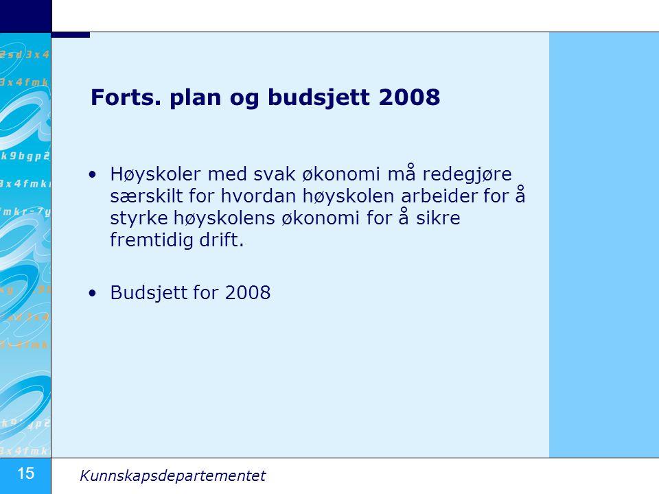 Forts. plan og budsjett 2008
