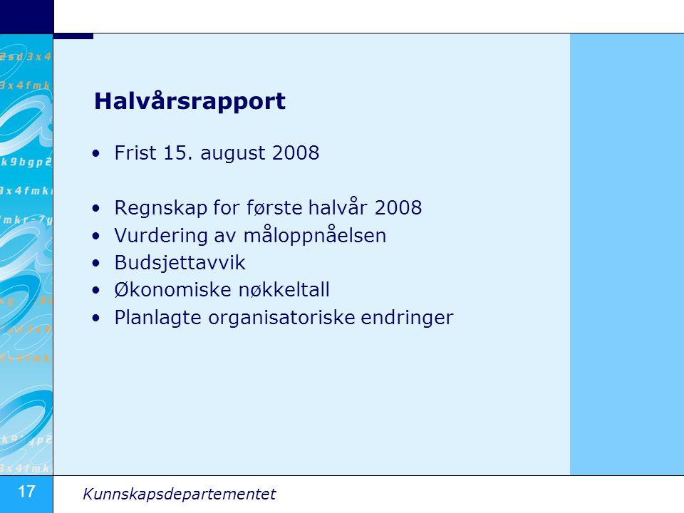 Halvårsrapport Frist 15. august 2008 Regnskap for første halvår 2008