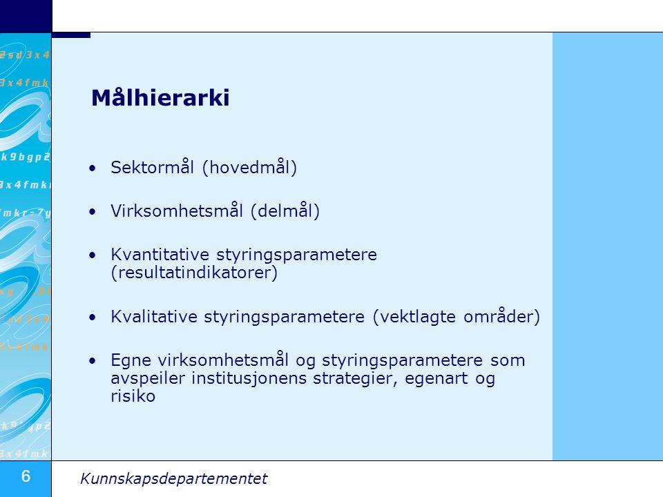Målhierarki Sektormål (hovedmål) Virksomhetsmål (delmål)
