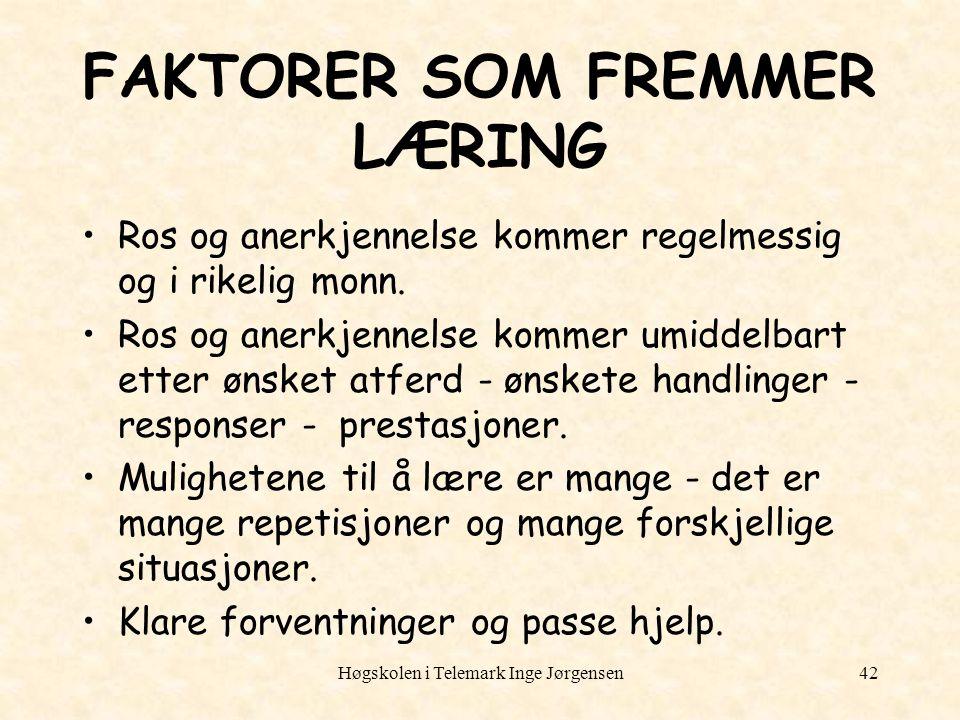 FAKTORER SOM FREMMER LÆRING