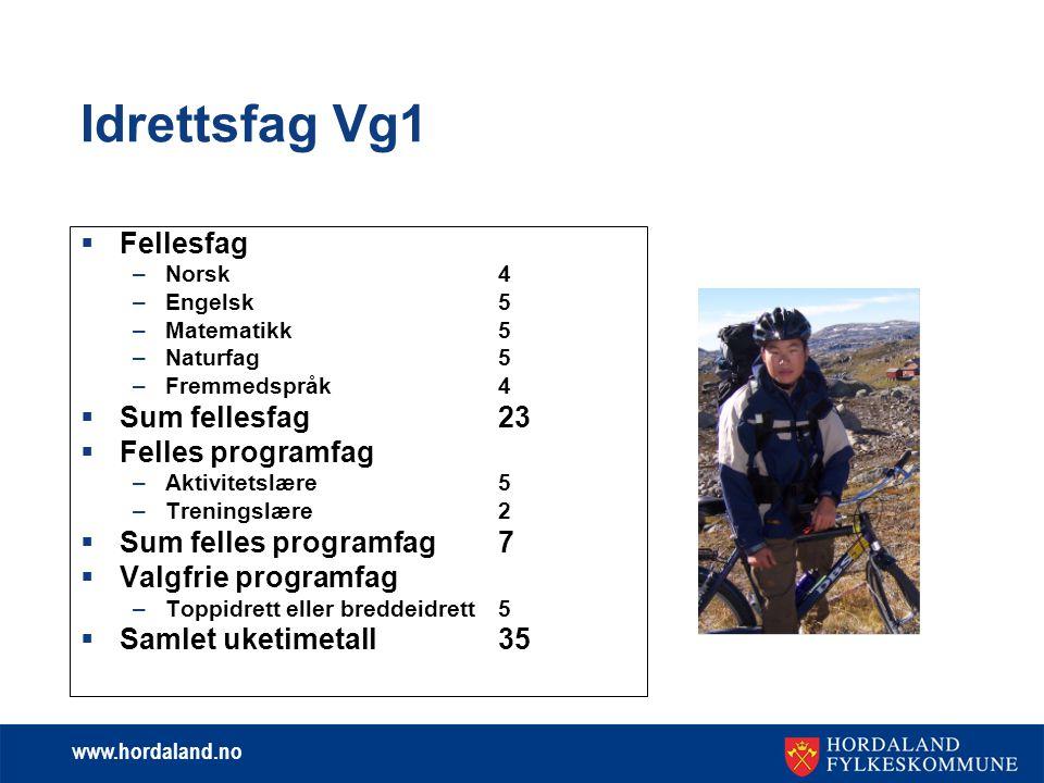 Idrettsfag Vg1 Fellesfag Sum fellesfag 23 Felles programfag