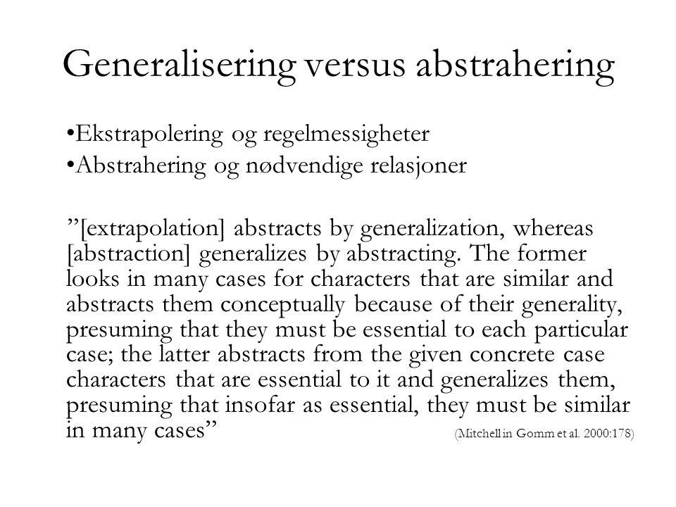 Generalisering versus abstrahering